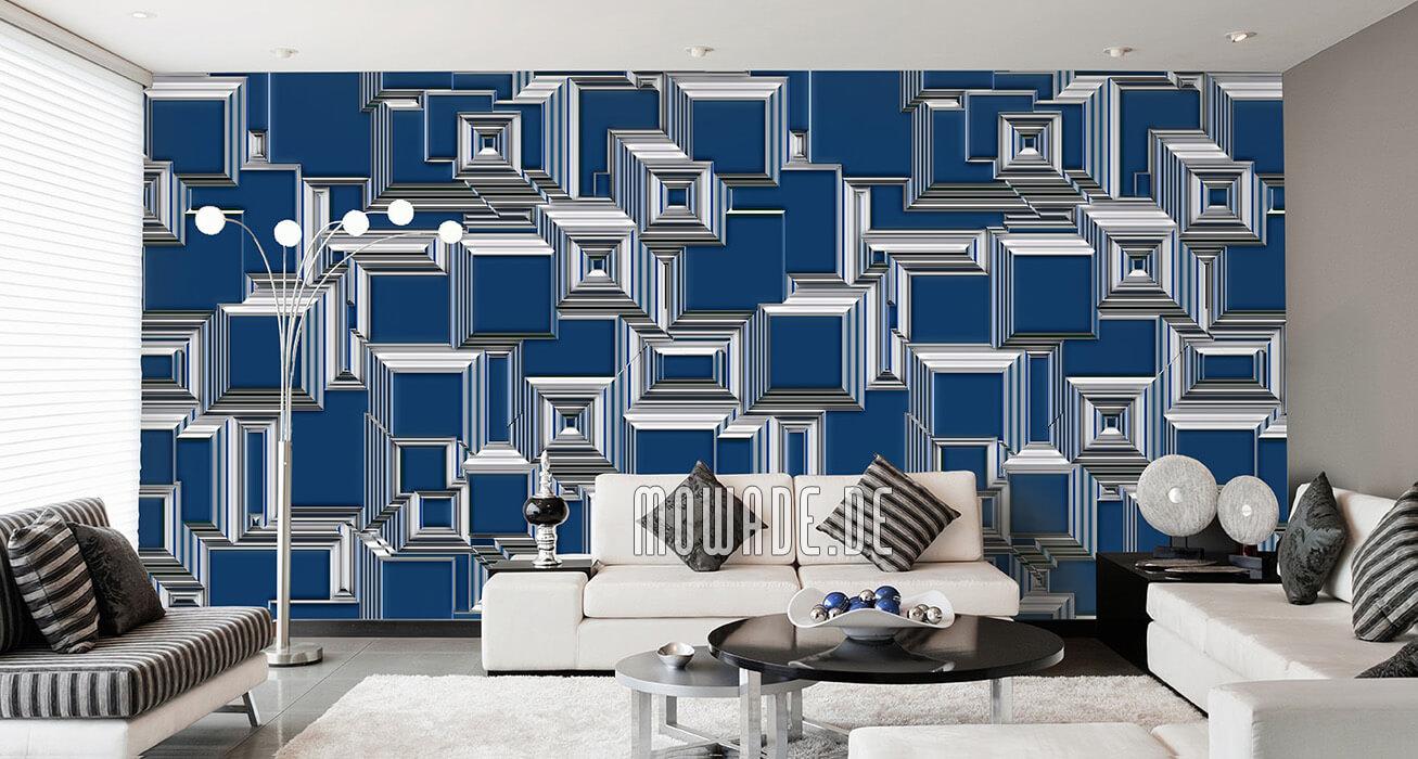 geometrisches wand-bild auf tapete blau stadt abstrakt urban