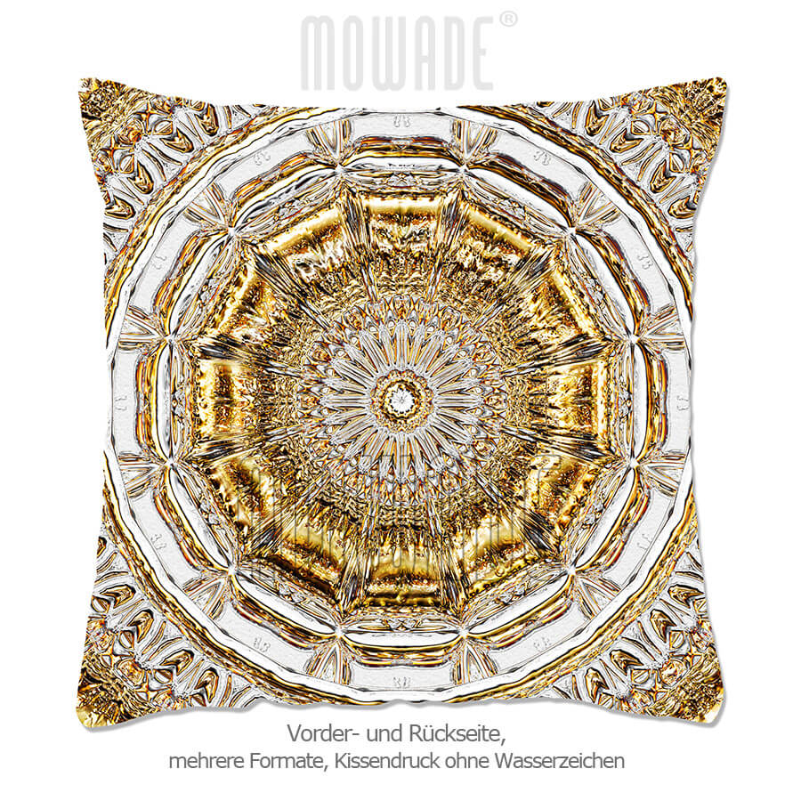 kissen neo-barock stuck-rosette hellgrau gold edel modern 70x70 50x50 40x40