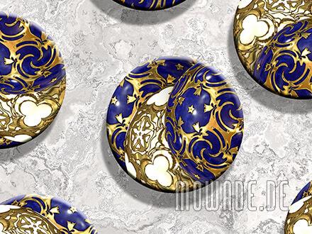 kissen weihnachts-deko sofa blau gold ornament-kugeln