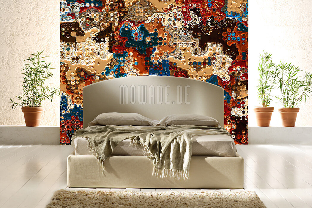 kunst designer tapete gold rot blau wohnzimmer