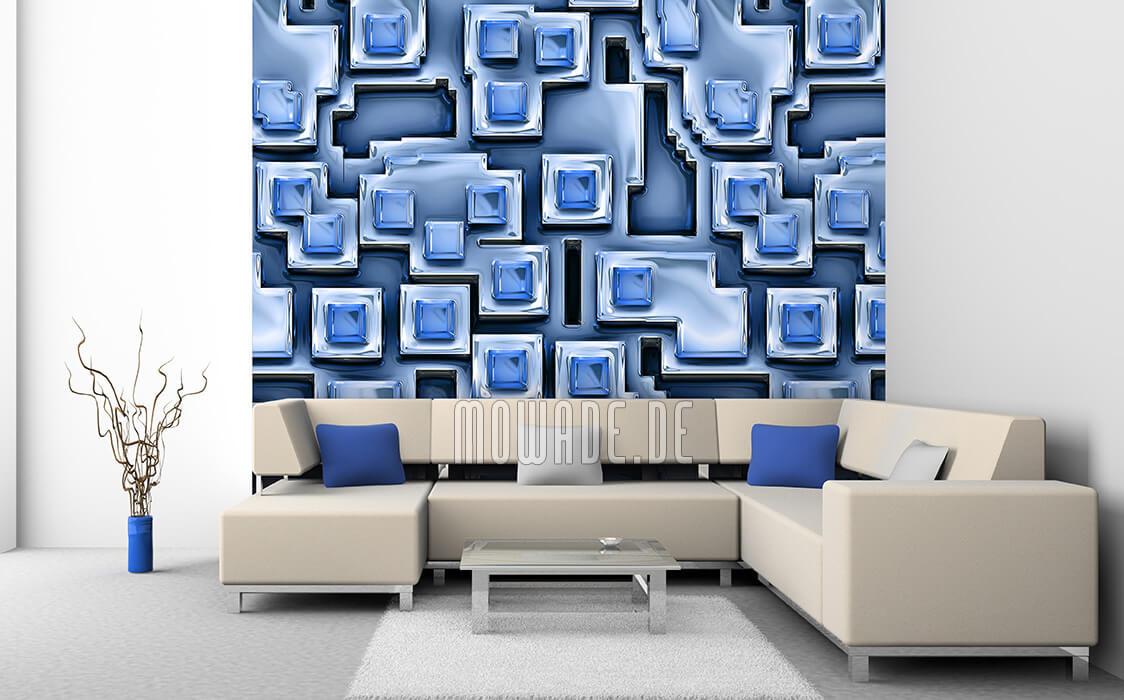 moderne bild-tapete blau 3d-optik pueblos