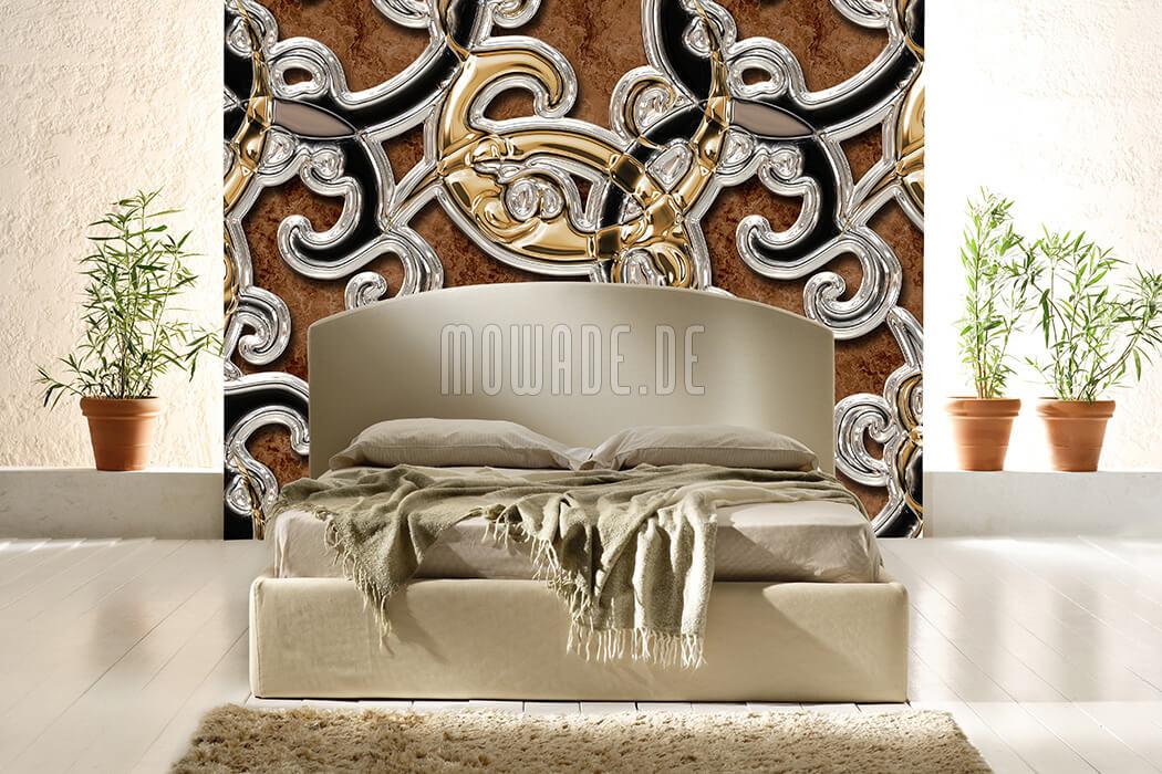 moderne bild-tapete ornament braun gold schwarz