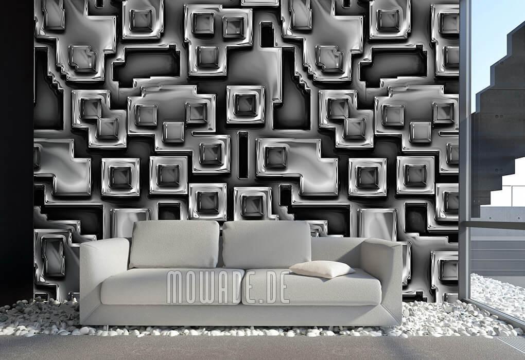 moderne bild tapete schwarz online metall-optik