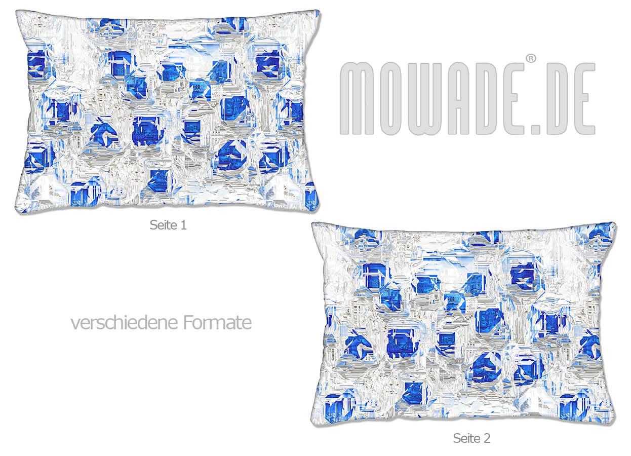 moderne deko kissen weiss blau design facetten sofa couch 70x70 50x50 60x40 50x30 40x40
