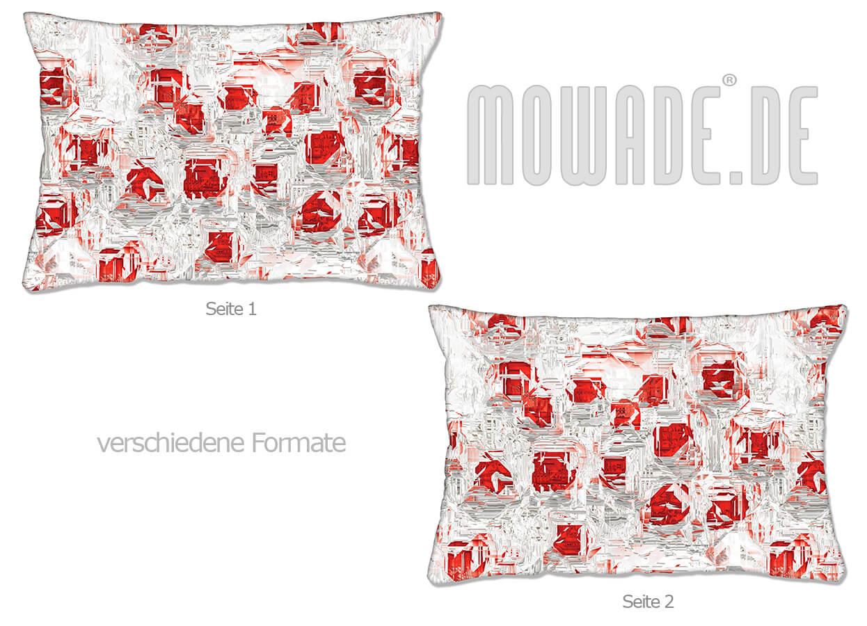 moderne deko kissen weiss rot design facetten sofa couch 70x70 50x50 60x40 50x30 40x40