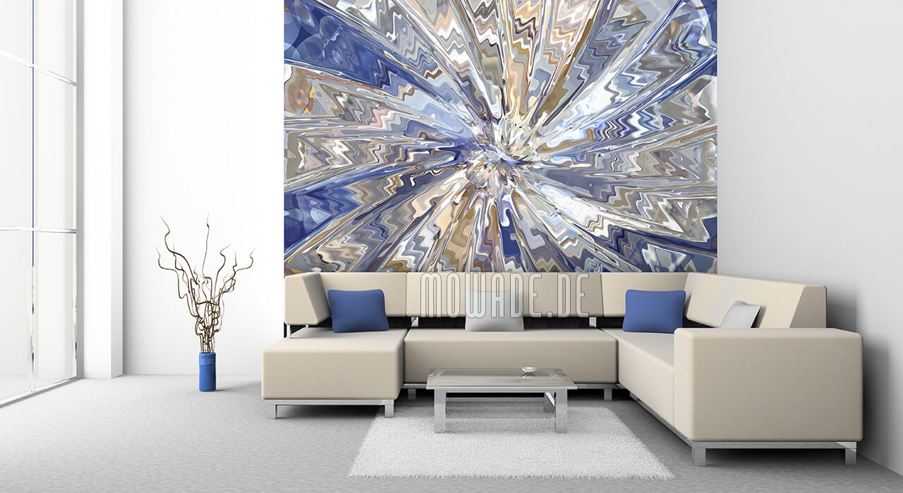 moderne expressive kunst tapete blau sand explosion