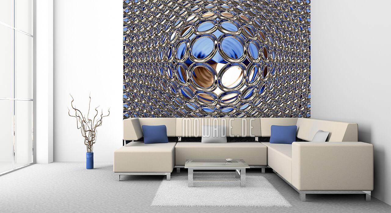 moderne fototapete blau gold disco glamour-kugel