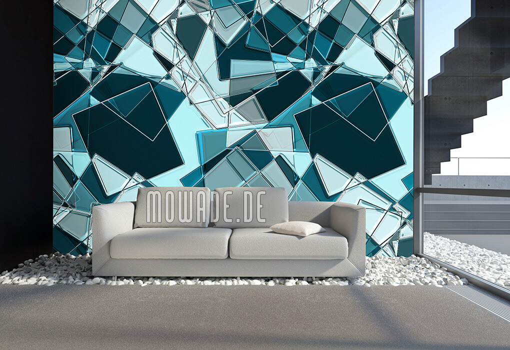 moderne geometrische kunst-tapete tuerkis quadrate online