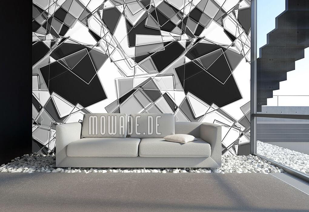 moderne geometrische kunst-tapete wohnzimmer grau schwarzweiss quadrate