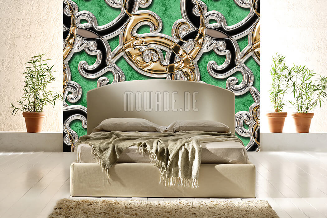 moderne ornament tapete gruen gold schwarz