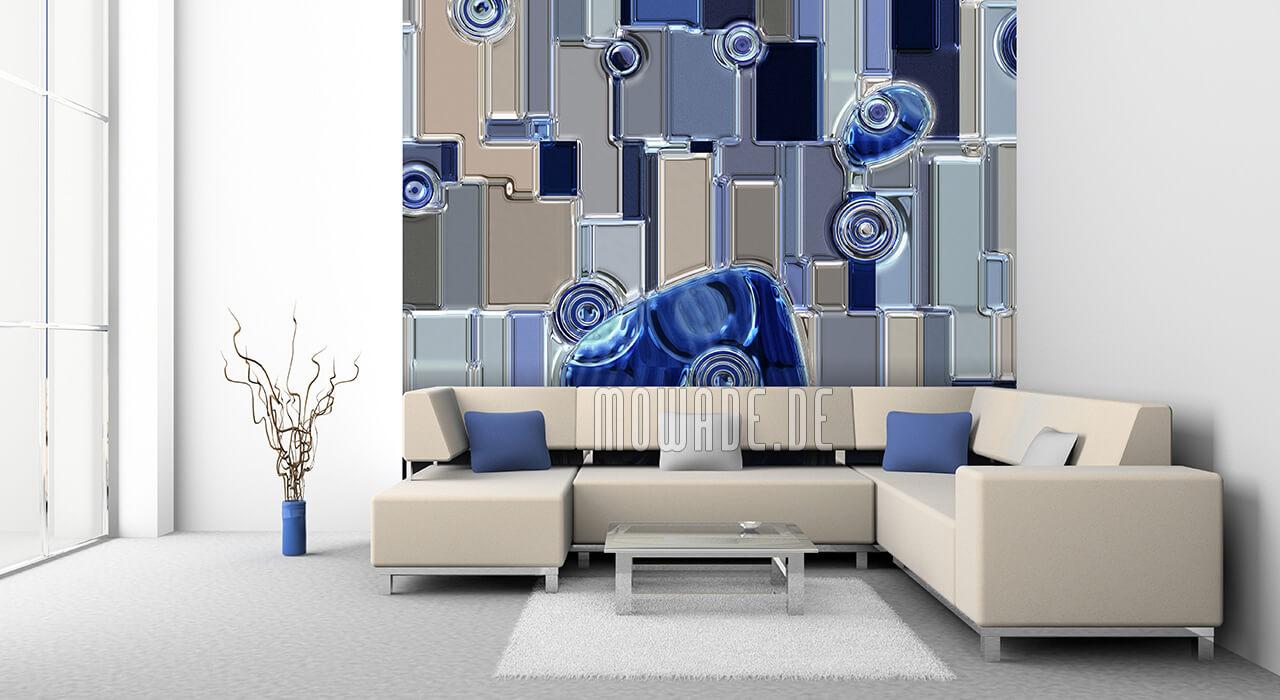 moderne tapete hotel blau grau metall-look