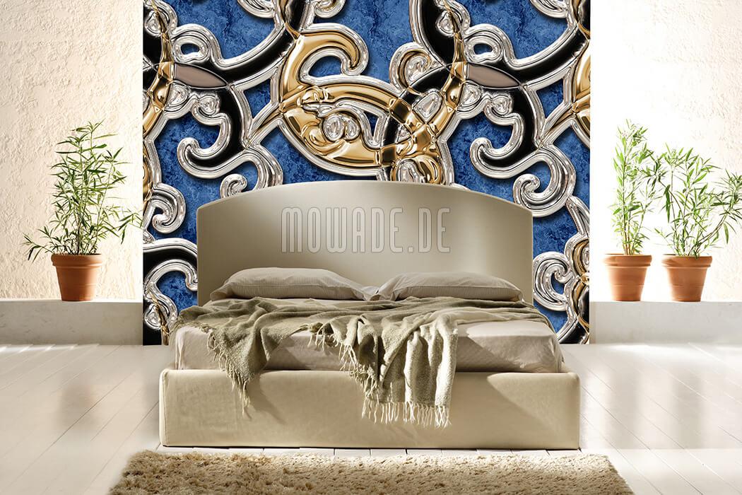 moderne tapete ornament blau gold schwarz