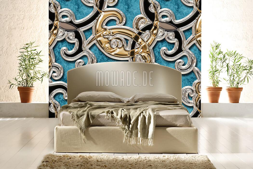 moderne tapete tuerkis gold schwarz ornament