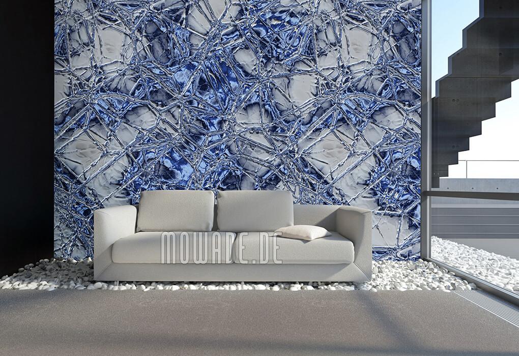 moderne tapeten blau grau metall-optik kunst