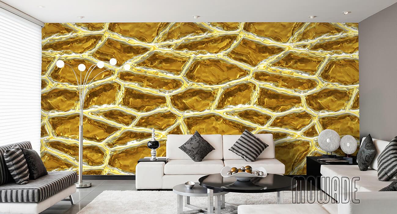 moderne wandgestaltung gelb weiss vliestapete bild xxl netzstruktur
