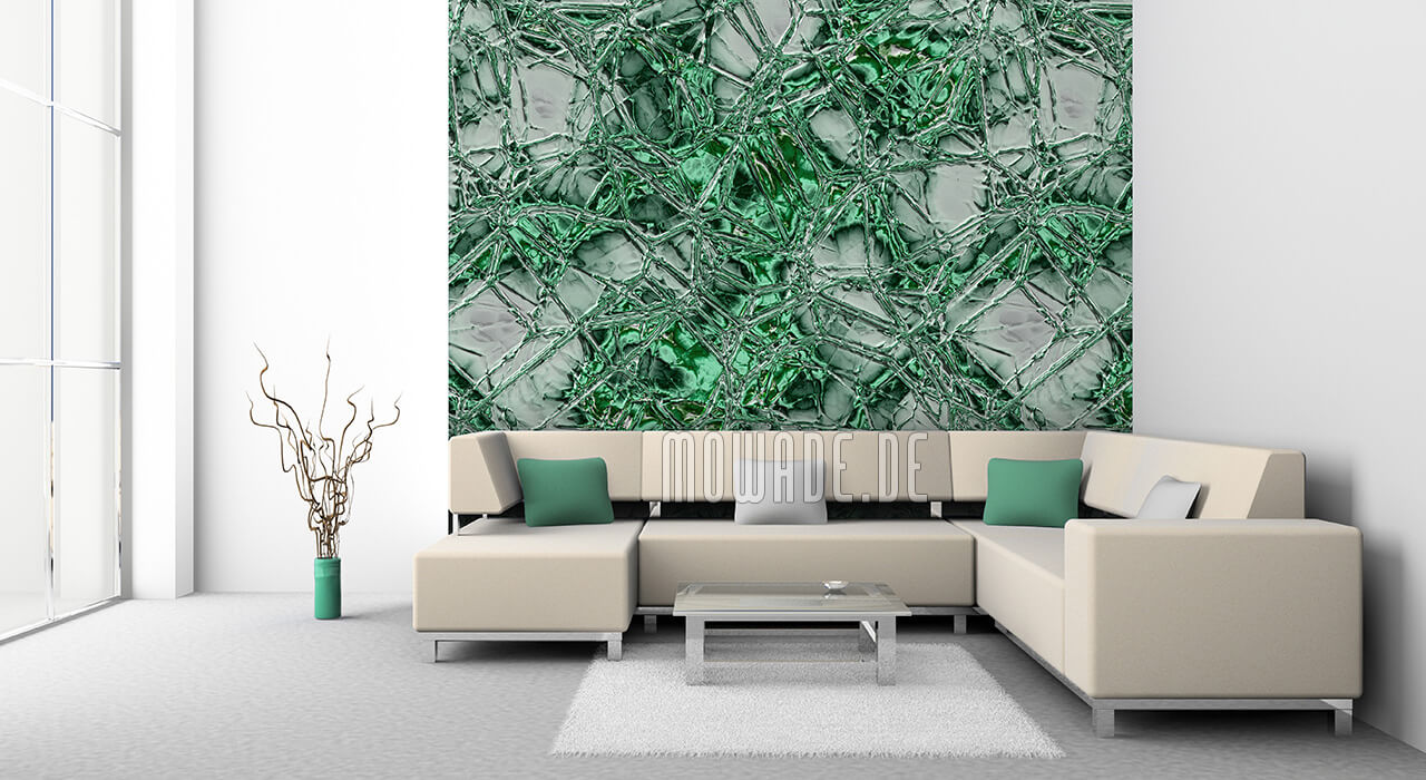 moderne wandgestaltung gruen grau tapete metall-optik