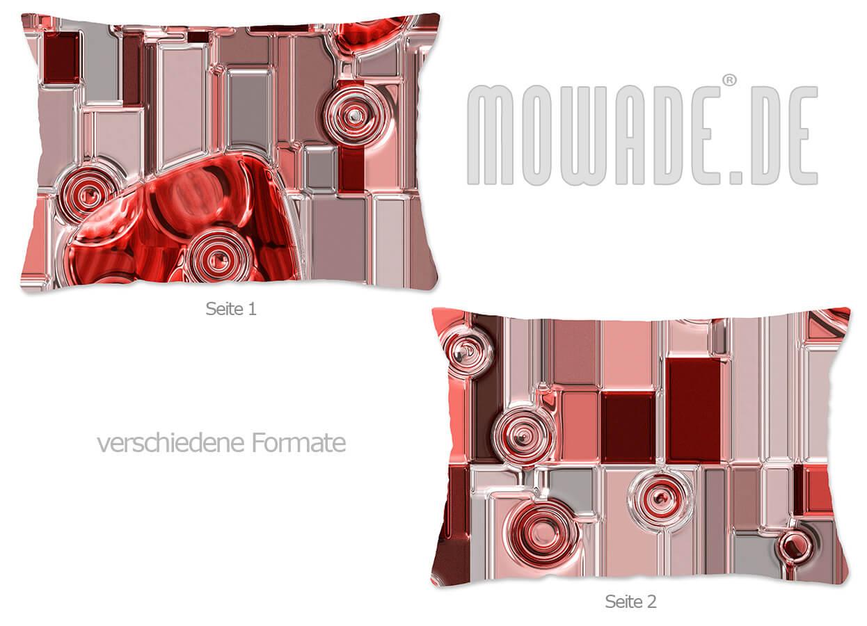 modernes design kissen rot metall relief-optik wohnzimmer 70x70 50x50 60x40 50x30 40x40
