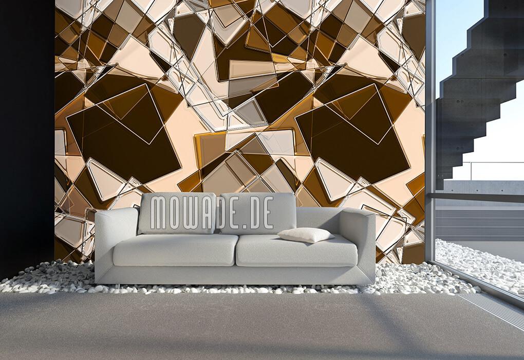 modernes geometrisches kunst tapeten-bild braun quadrate