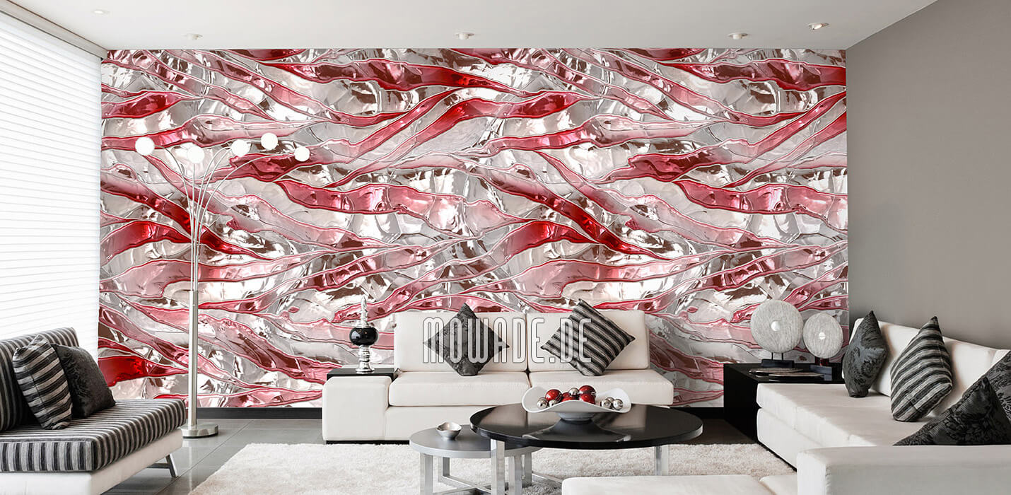 modernes tapeten design weiss rot bar lounge wohnzimmer knitter-streifen