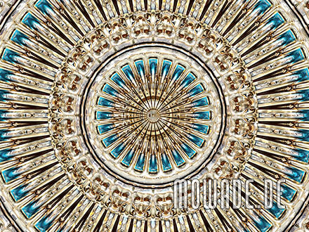 modernes tapetendesign gold tuerkis runder stuck neo barock