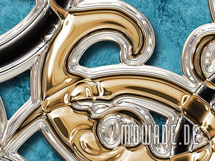 neo-barock tapete grosse ornamente tuerkis gold schwarz