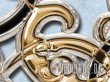 ornament tapete xxl hellblau gold schwarz