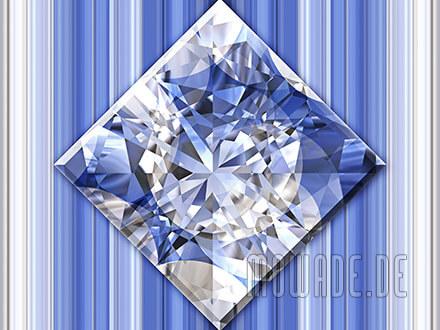 quadratisches kissen diamant bild blau weiss wohnzimmer