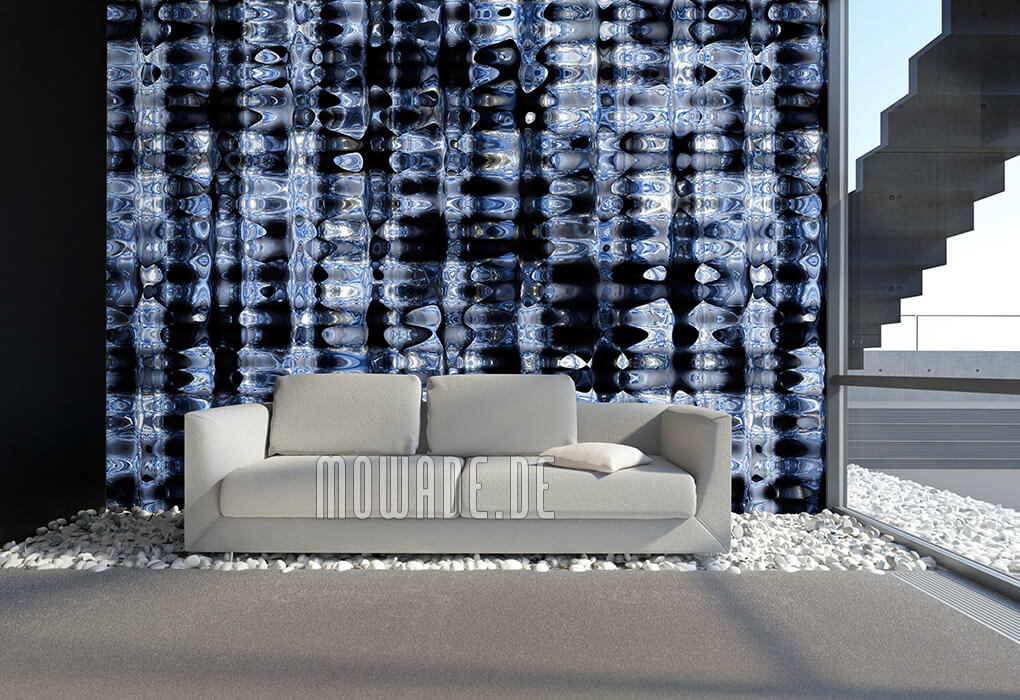 stylische kunst-tapete blau schwarz metall-optik