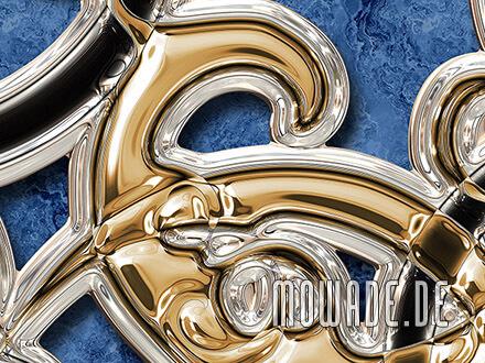 tapete neo-barock moderne ornamente blau gold schwarz 3d-optik