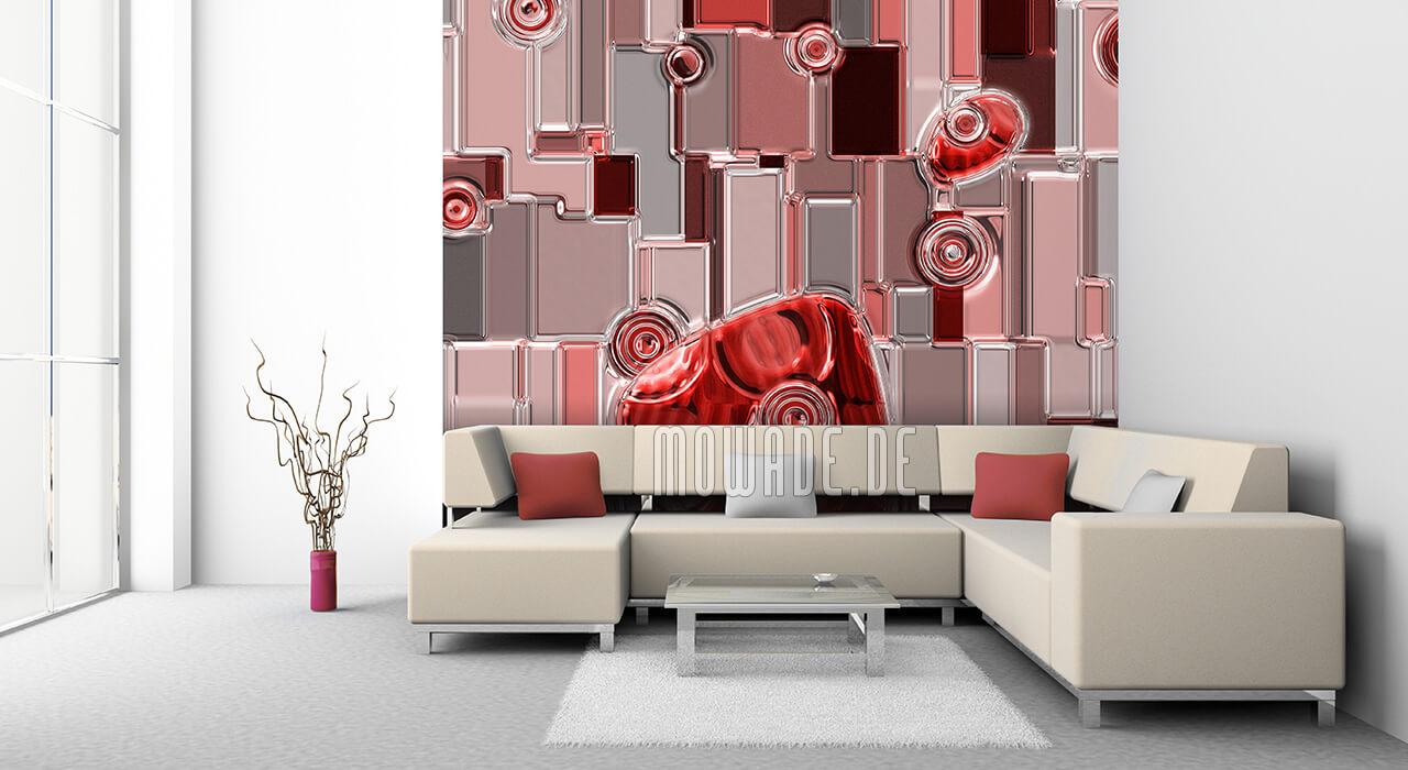 tapete wohnzimmer rot metall-optik relief rechtecke-kreise