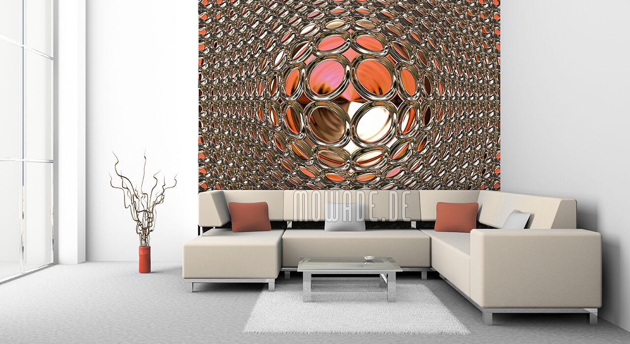 tapeten bild rot gold quadratische disco-kugel