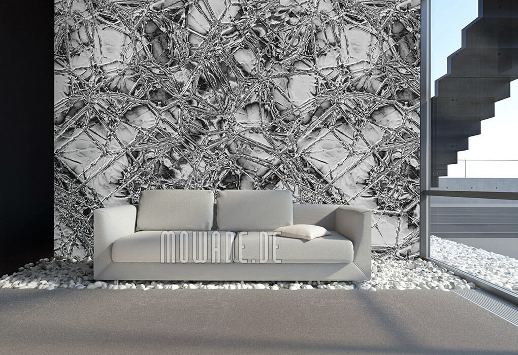 tapetendesign online grau metall-optik wohnzimmer