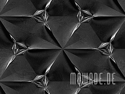 tapetendesign schwarz silber modern faltpolygon