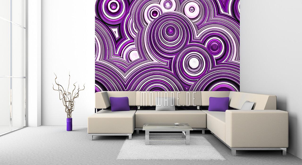 vliestapete kreise violett weiss schwarz