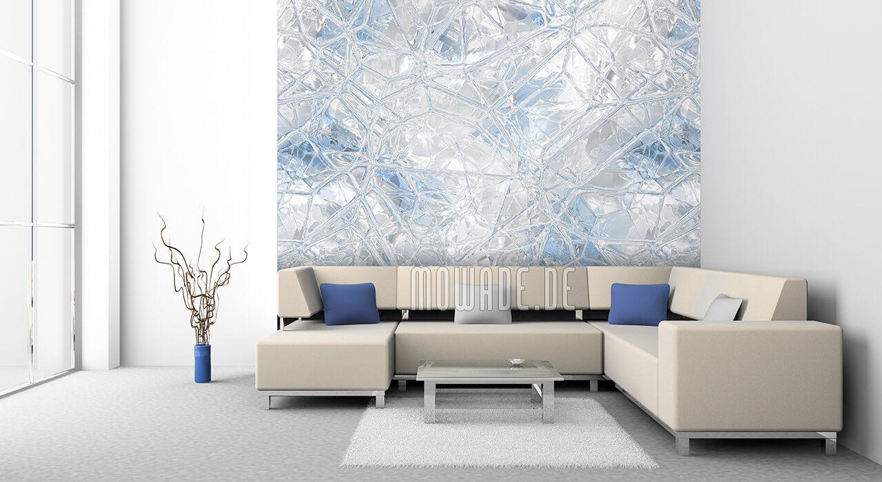 wand-tapete weiss pastell blau glas-mosaik
