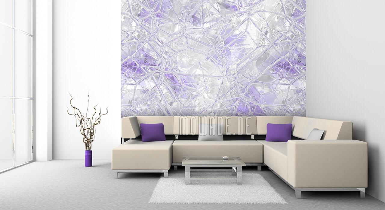 wand-tapete weiss pastell flieder glas-mosaik