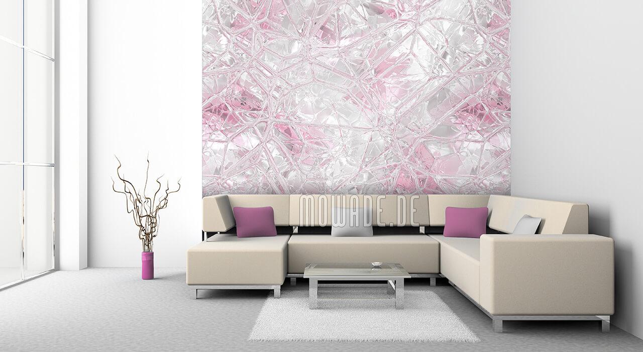 wand-tapete weiss pastell rosa glas-mosaik