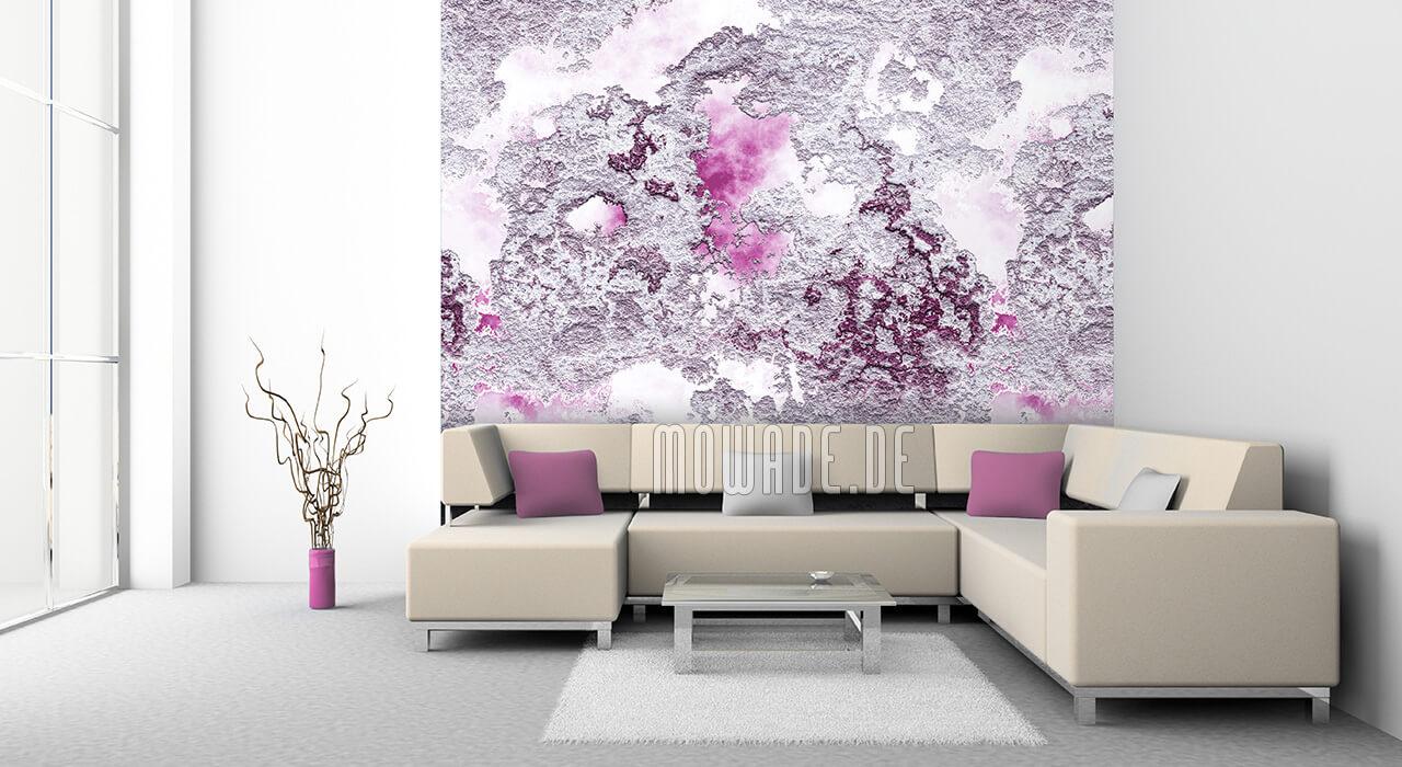 wandbelag weiss pink putz-struktur tapete