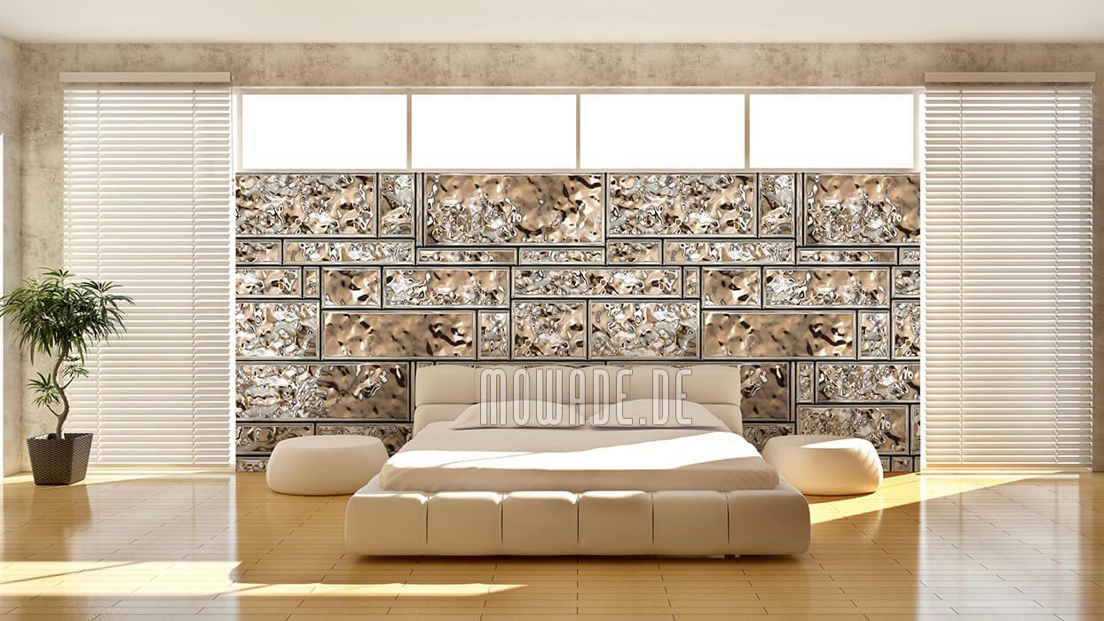 wandgestaltung gold lounge showroom vliestapete metall-look kachel-streifen