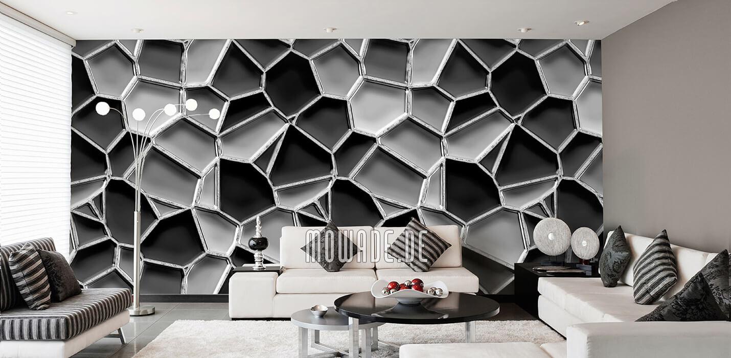 wandgestaltung grau schwarz mosaik-tapete metall-optik