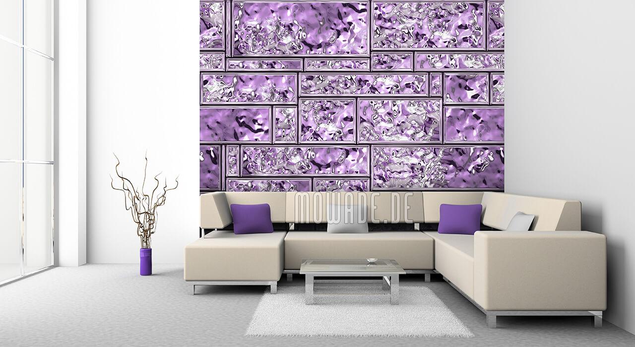 wandgestaltung violett metall-look vliestapete wohnzimmer bar kachel streifen