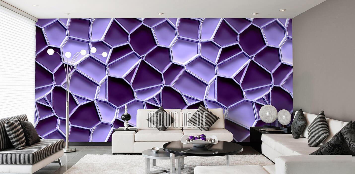 wandgestaltung violett mosaik-tapete metall-optik