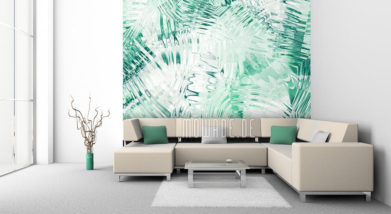 wandmotiv gruen weiss modern tapete