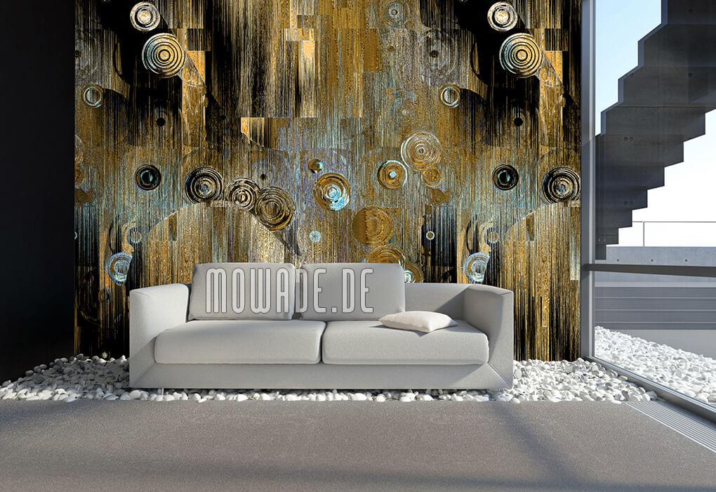 wandmotiv kunst-tapete gold tuerkis schwarz