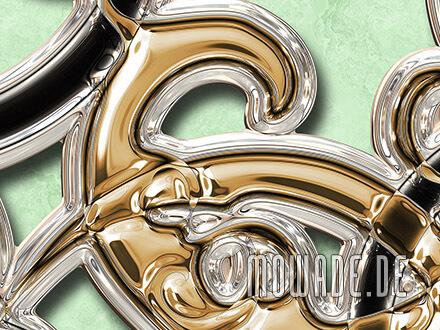 wandtapete hellgruen gold schwarz ornament xxl