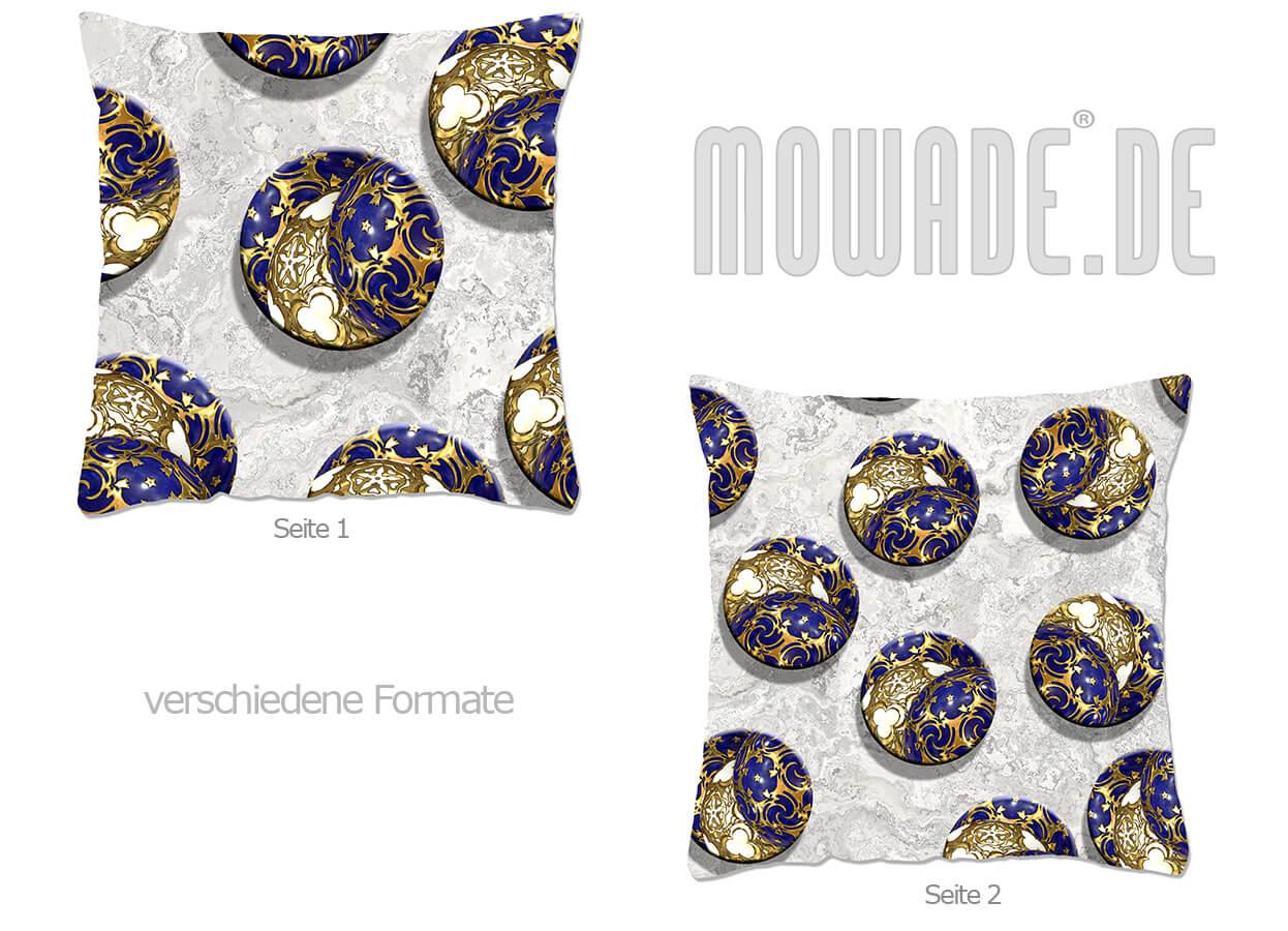 weihnachts-deko-kissen blau gold weiss kugeln kreise 70x70 50x50 40x40