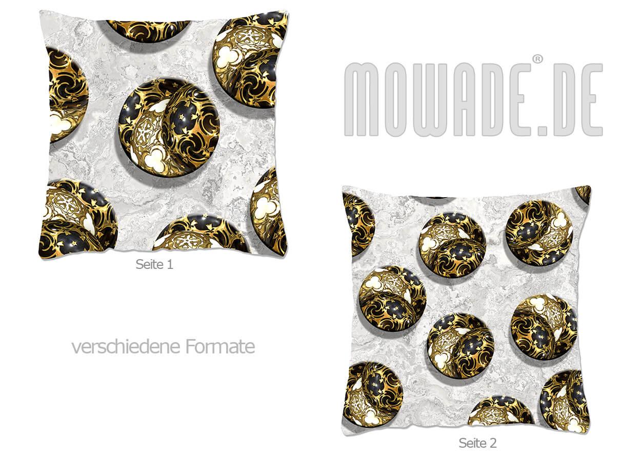 weihnachts-deko-kissen schwarz gold weiss kugeln kreise 70x70 50x50 40x40