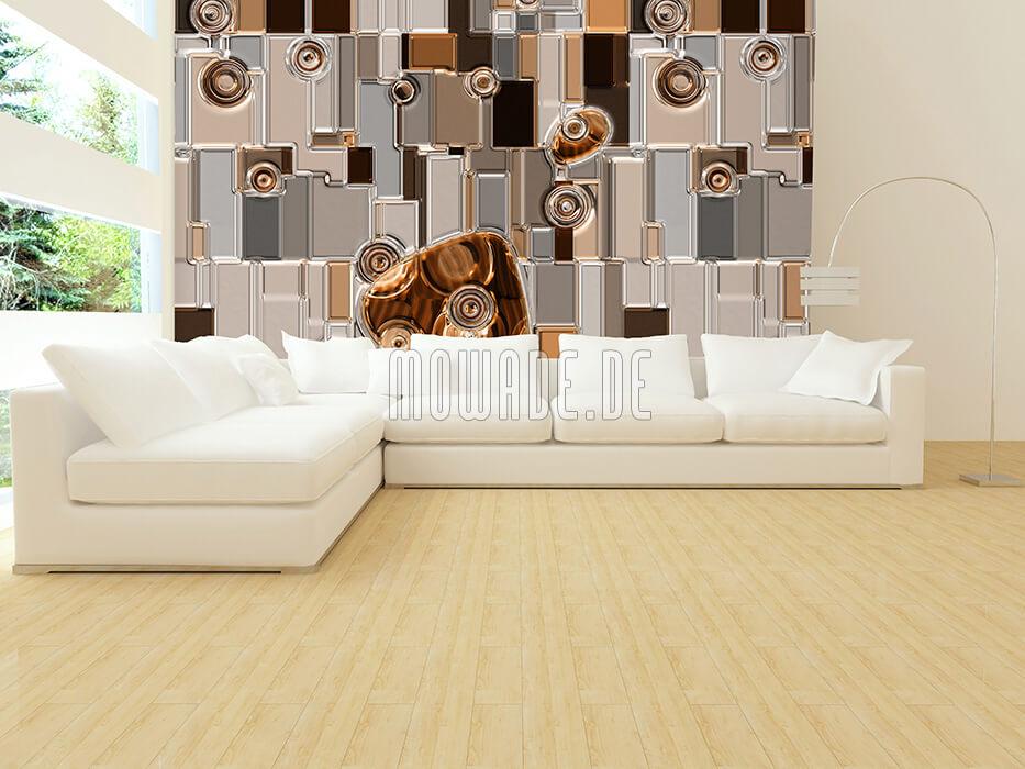 wohnzimmer tapete braun metall-optik relief rechtecke-kreise
