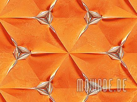 ausgefallene tapete orange silber wohnzimmer