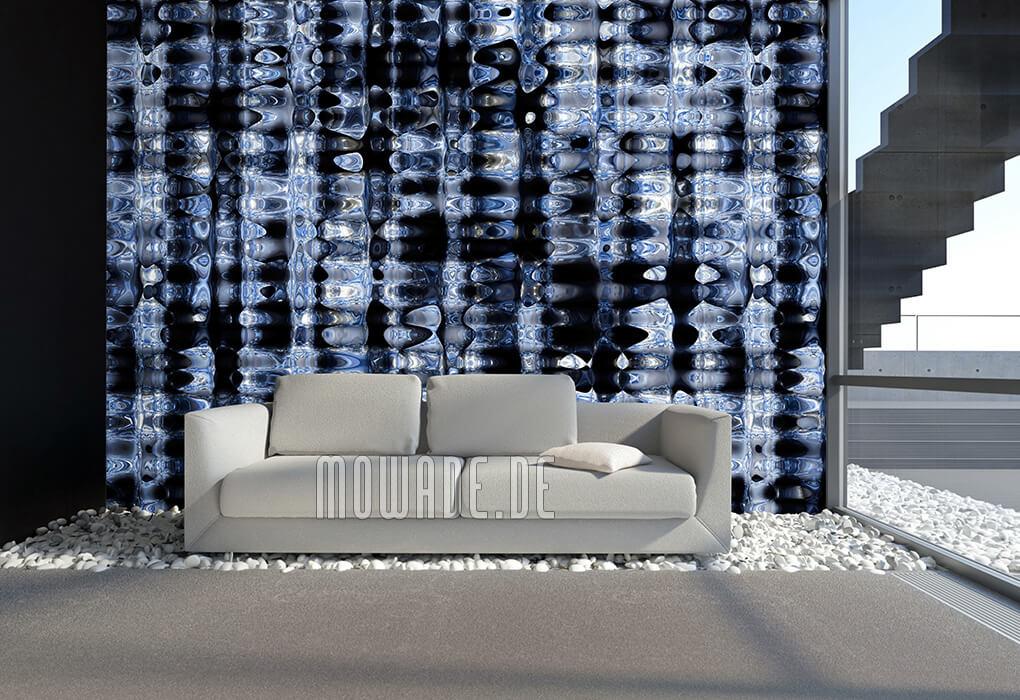 ausgefallenes tapetendesign blau schwarz metall optik lounge bar